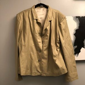 Golden beige XL leather blazer button front NWOT